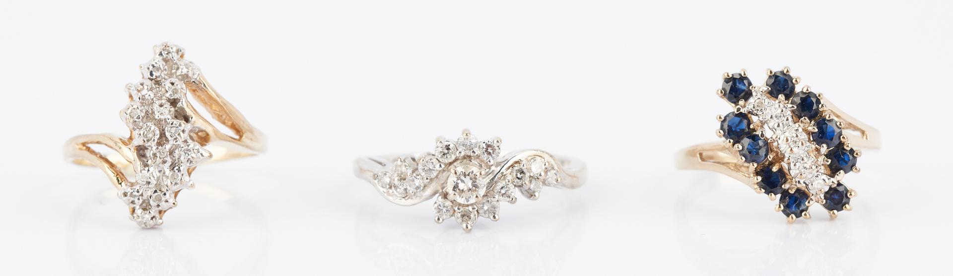 Lot 911: 3 Ladies Yellow & White Gold Diamond Rings