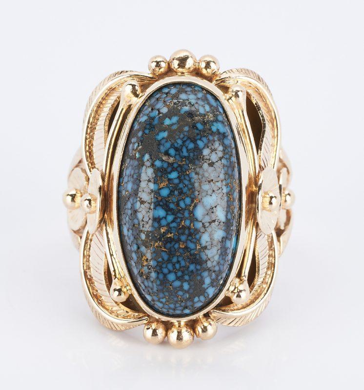 Lot 912: Ladies 14K Lazulite Ring