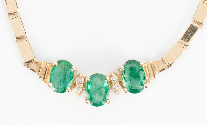 Lot 915: 14K Emerald and Diamond Necklace