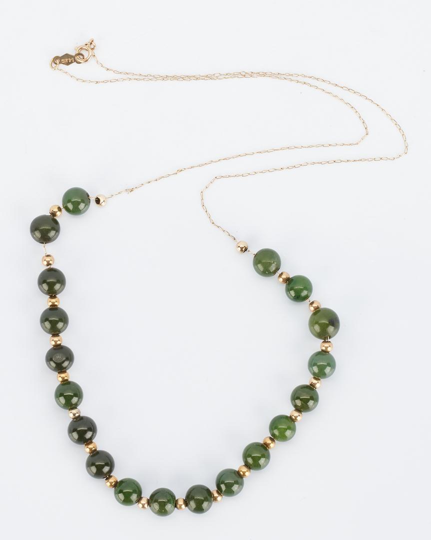 Lot 917: 3 Ladies 14K Necklaces, Pearl & Jade