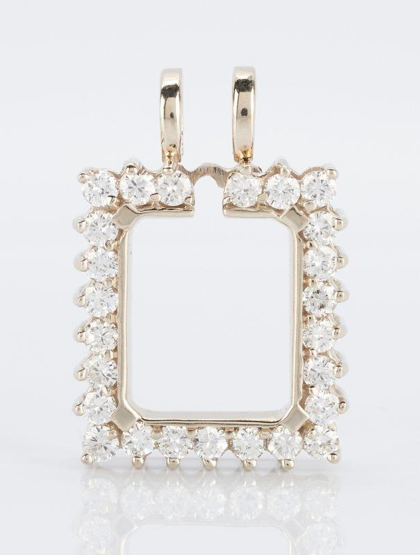 Lot 922: 14K Diamond Pendant Surround