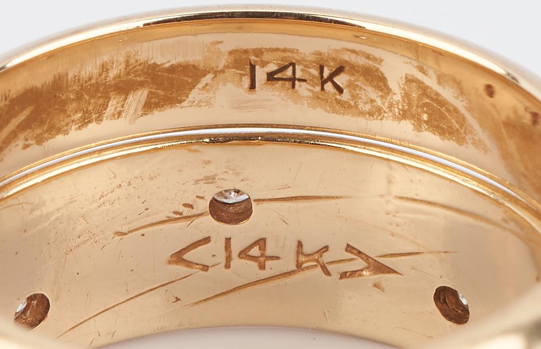 Lot 926: 2 14K Yellow Gold Wedding Bands, 1 w/ Diamonds