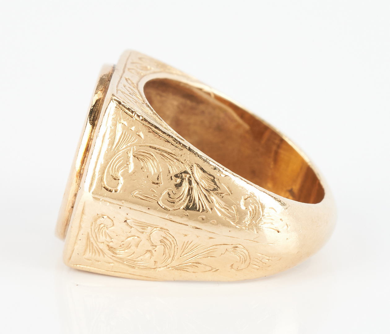 Lot 930: 14K Gold and $1 Gold Coin Ring
