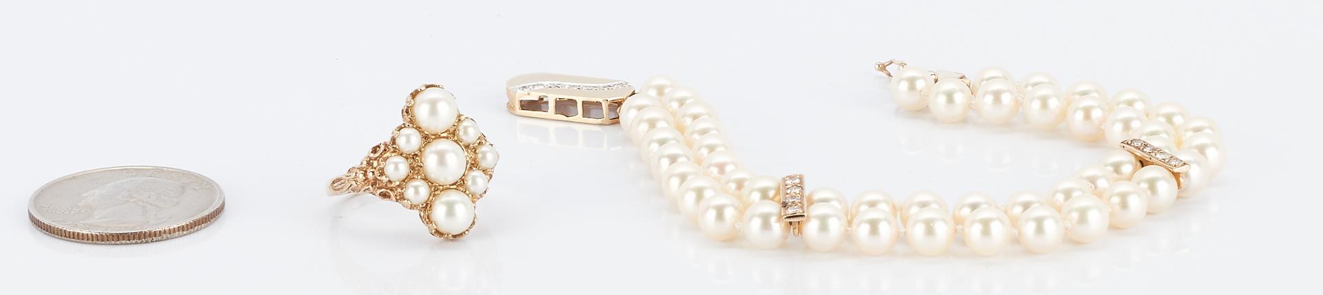 Lot 931: Double Strand Pearl Bracelet & Pearl Ring