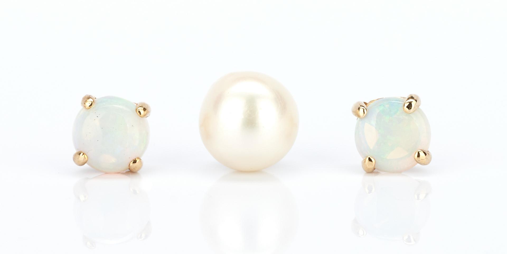 Lot 932: Assorted Ladies 14K Pearl & Diamond Jewelry