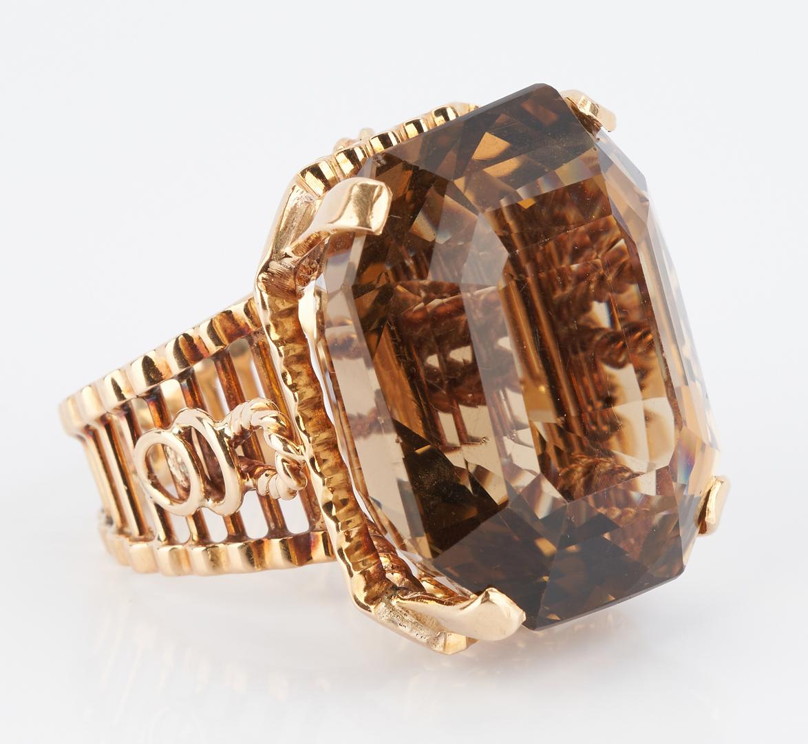 Lot 933: Ladies 14K Gold & 60 Carat Citrine Ring