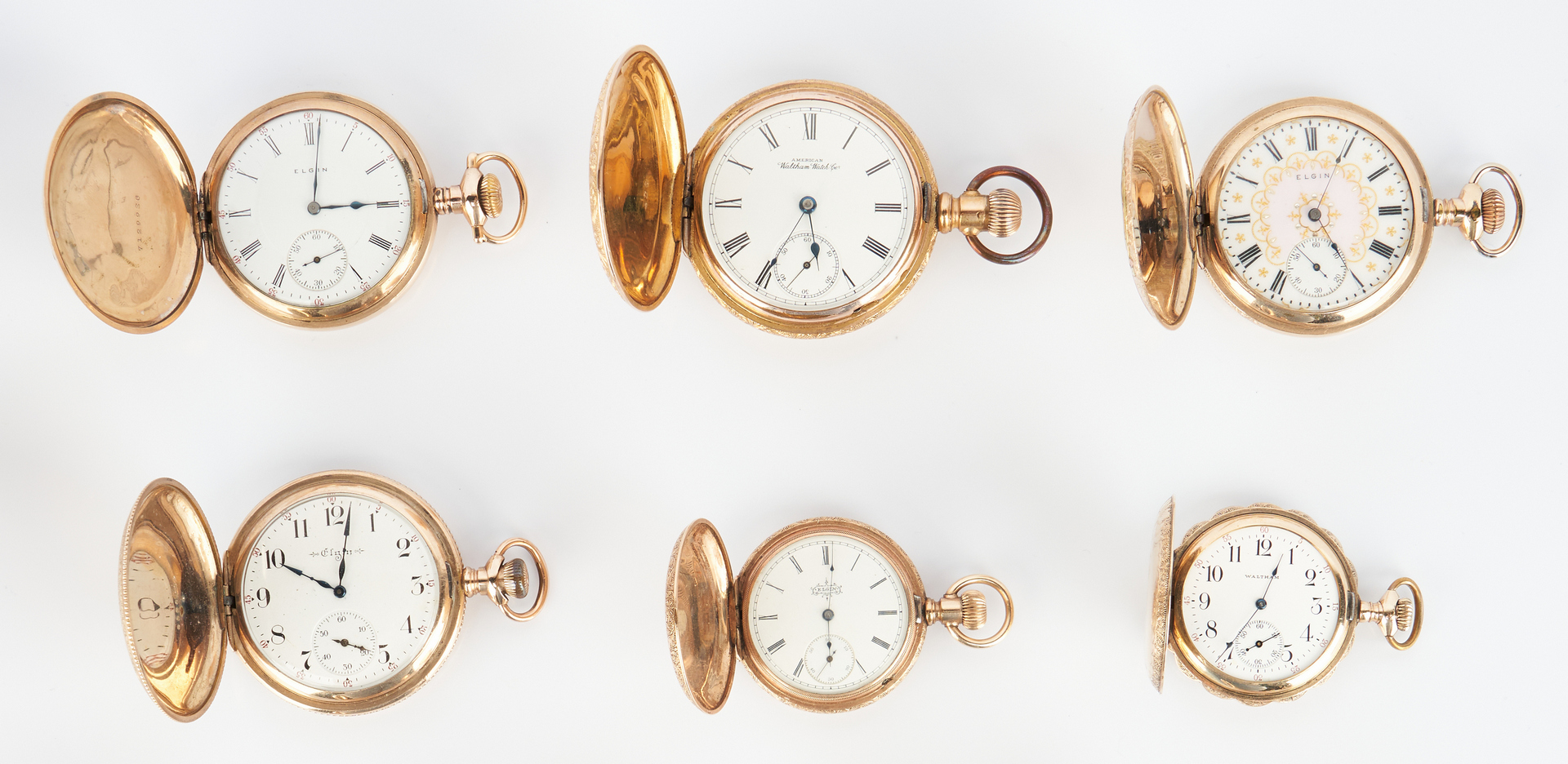 Lot 935: 10 Pocket Watches, incl. Elgin, Waltham & Illinois