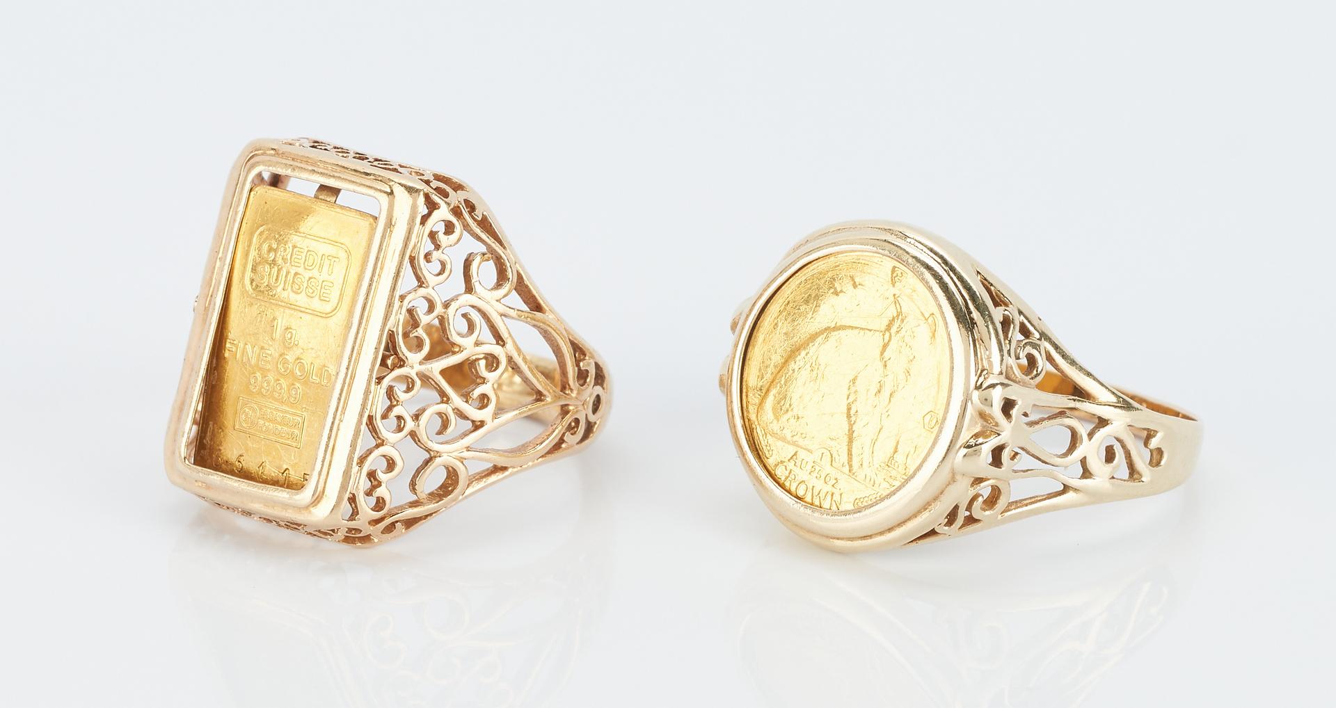 Lot 938: 2 Ladies 14K Mounted Coin Rings