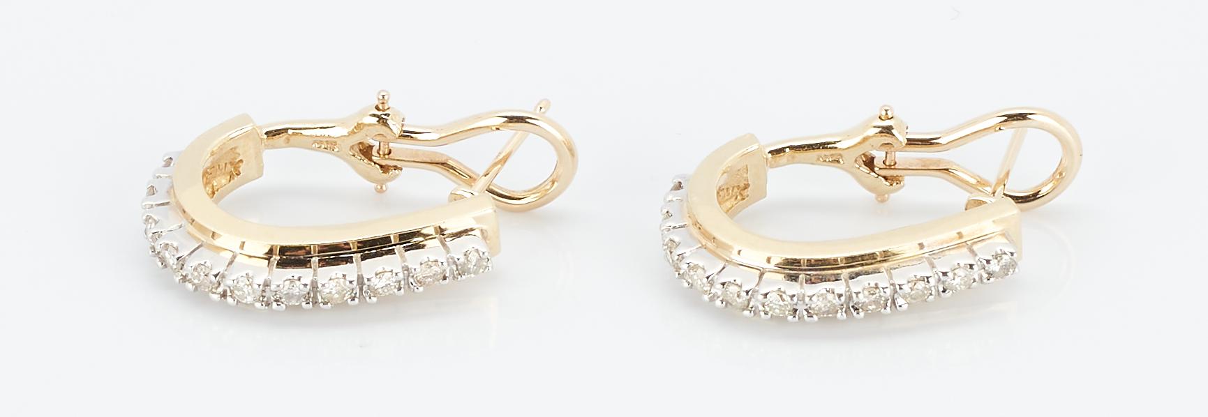 Lot 940: 14K Diamond Hoop Earrings