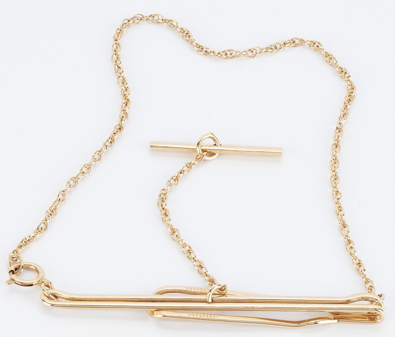 Lot 942: Men's 14K Tie Bar Clip w/ Swag Chain