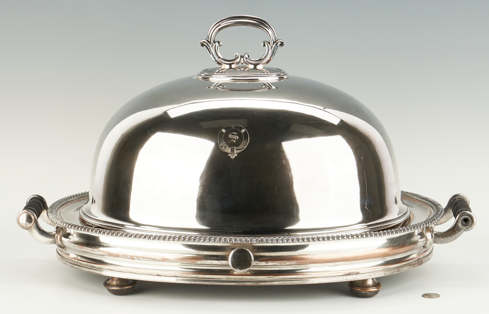 Lot 947: Old Sheffield Plate Warming Stand and Meat Dome