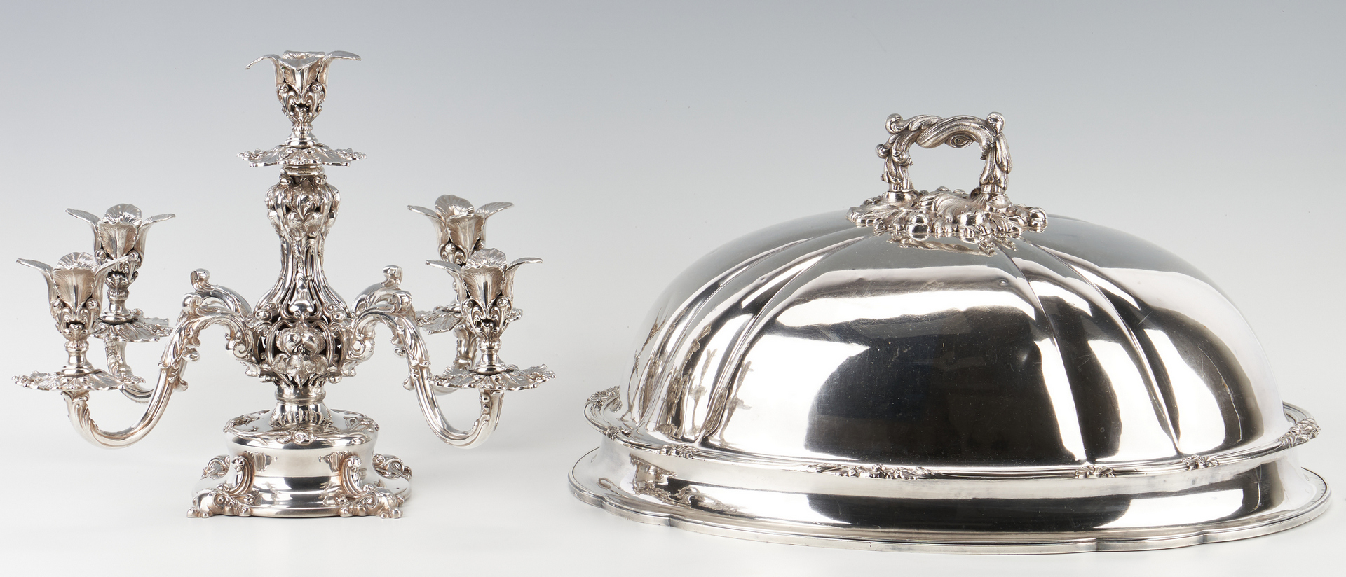 Lot 949: Old Sheffield Meat Dome and Reed & Barton Candelabra/Epergne