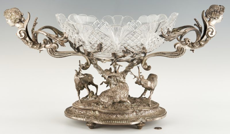Lot 94: Continental Silvered Bronze Figural Centerpiece