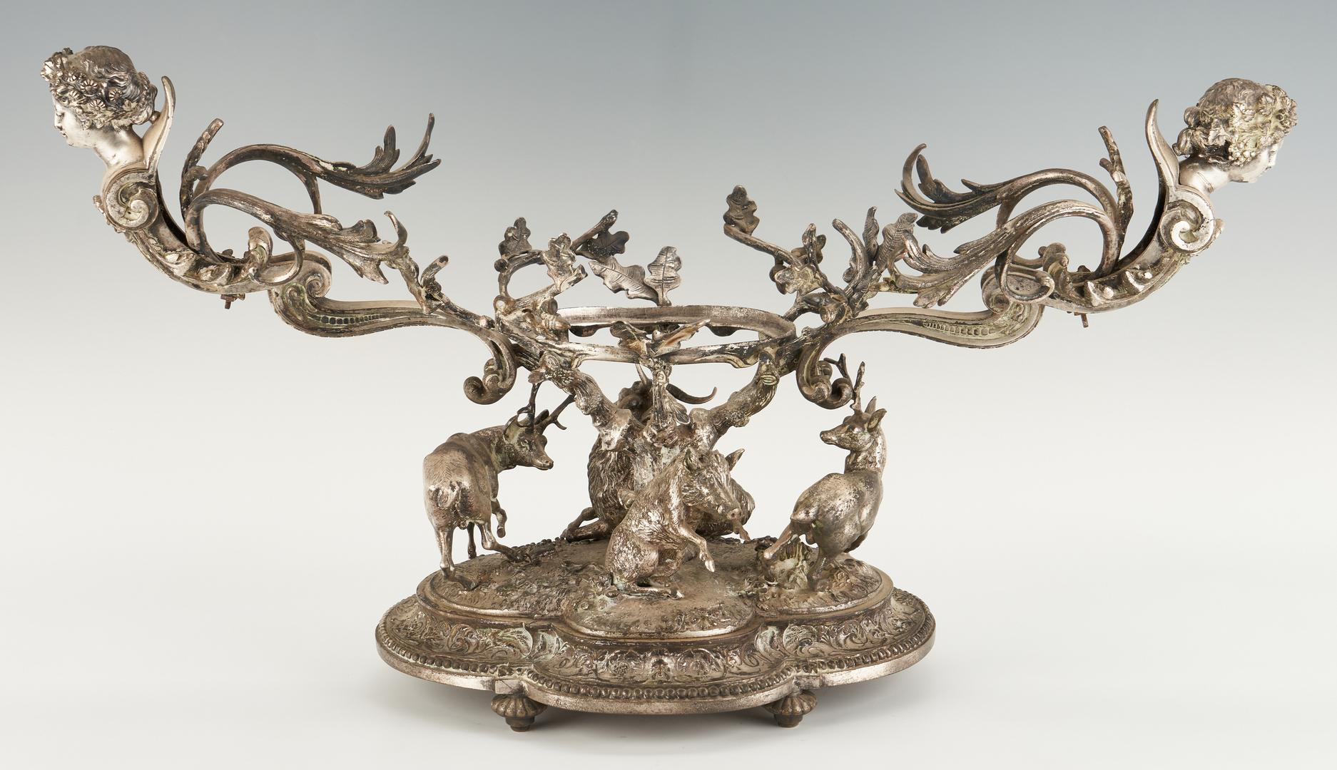 Lot 94: Continental Silvered Bronze Figural Centerpiece