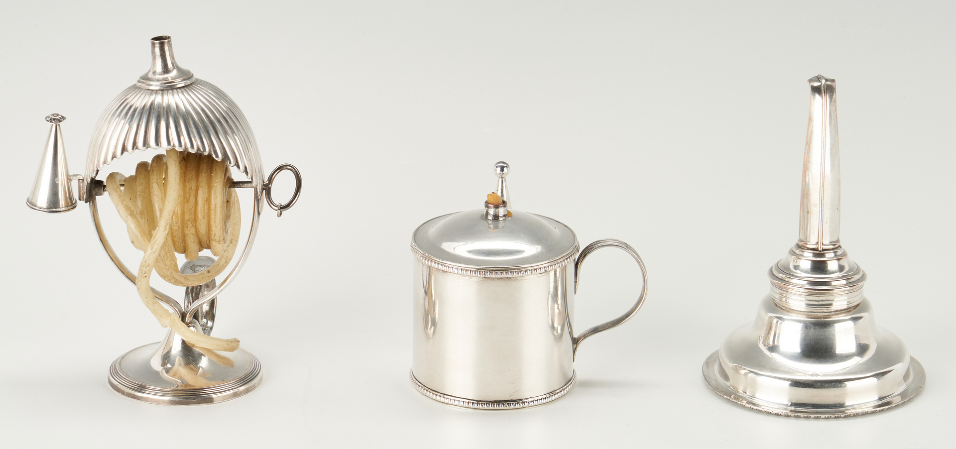 Lot 951: Old Sheffield Bougie Box, Wax Jack, and Wine Funnel