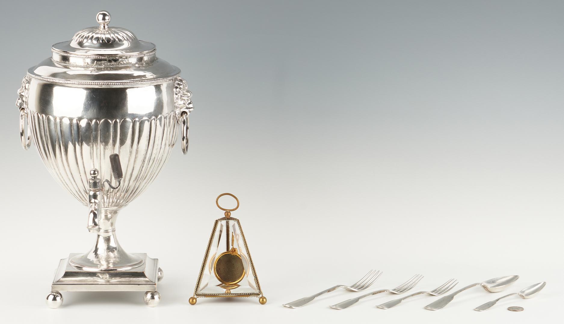 Lot 952: Sheffield Tea Urn, 5 Coin Silver Items, & Watch Hutch