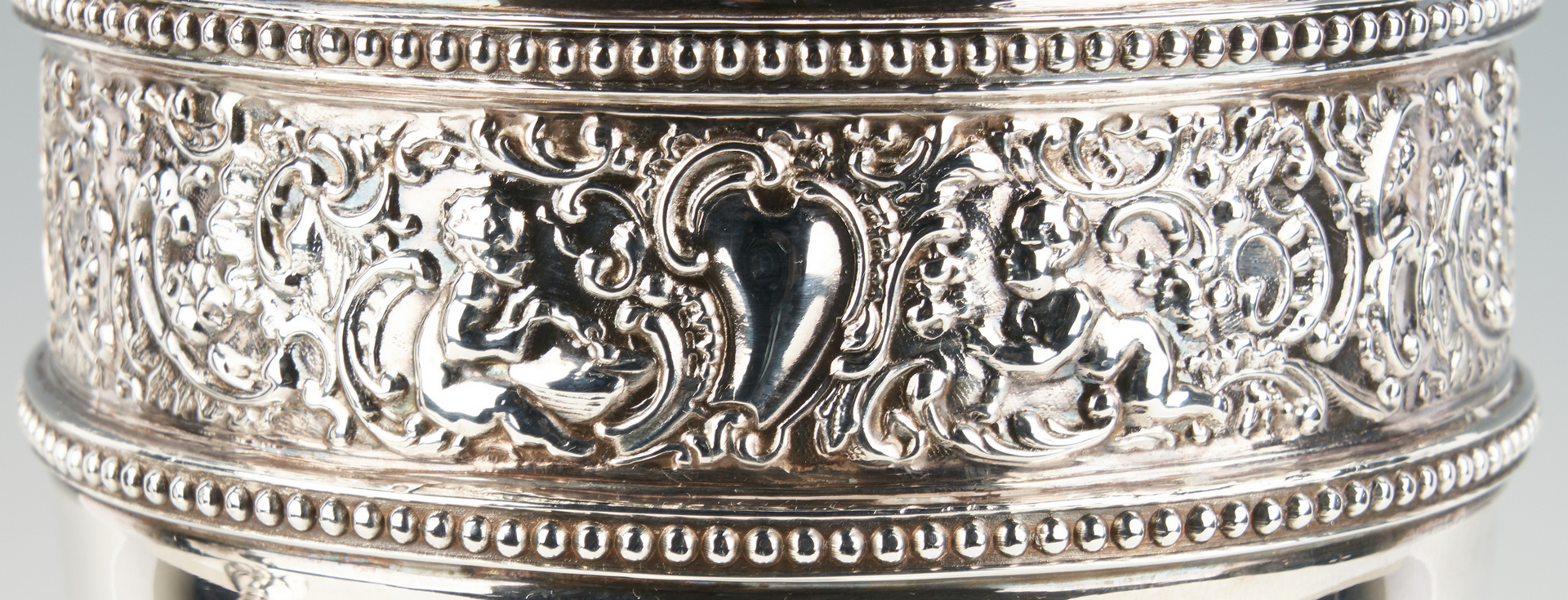 Lot 953: Pair Tall Silverplated Urns or Vases