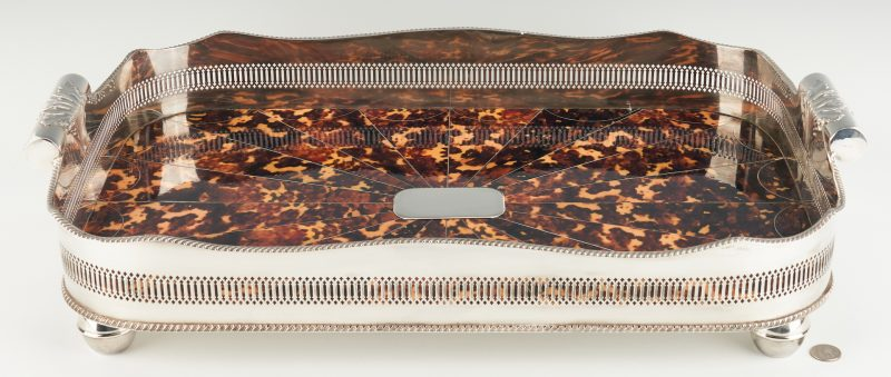 Lot 954: Silverplated Faux Tortoise Shell Tray