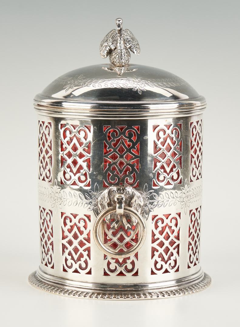 Lot 956: Victorian S/P and Cut Glass Biscuit Barrel plus Napkin Rings