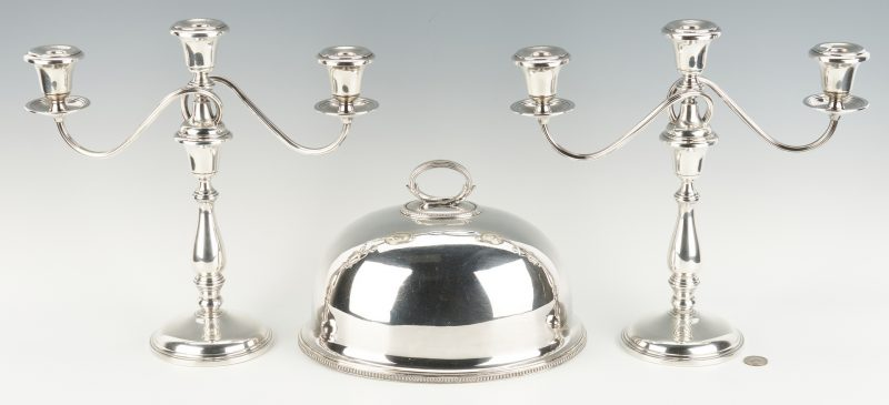 Lot 958: Pair Sterling Candelabra & Silverplate Meat Dome