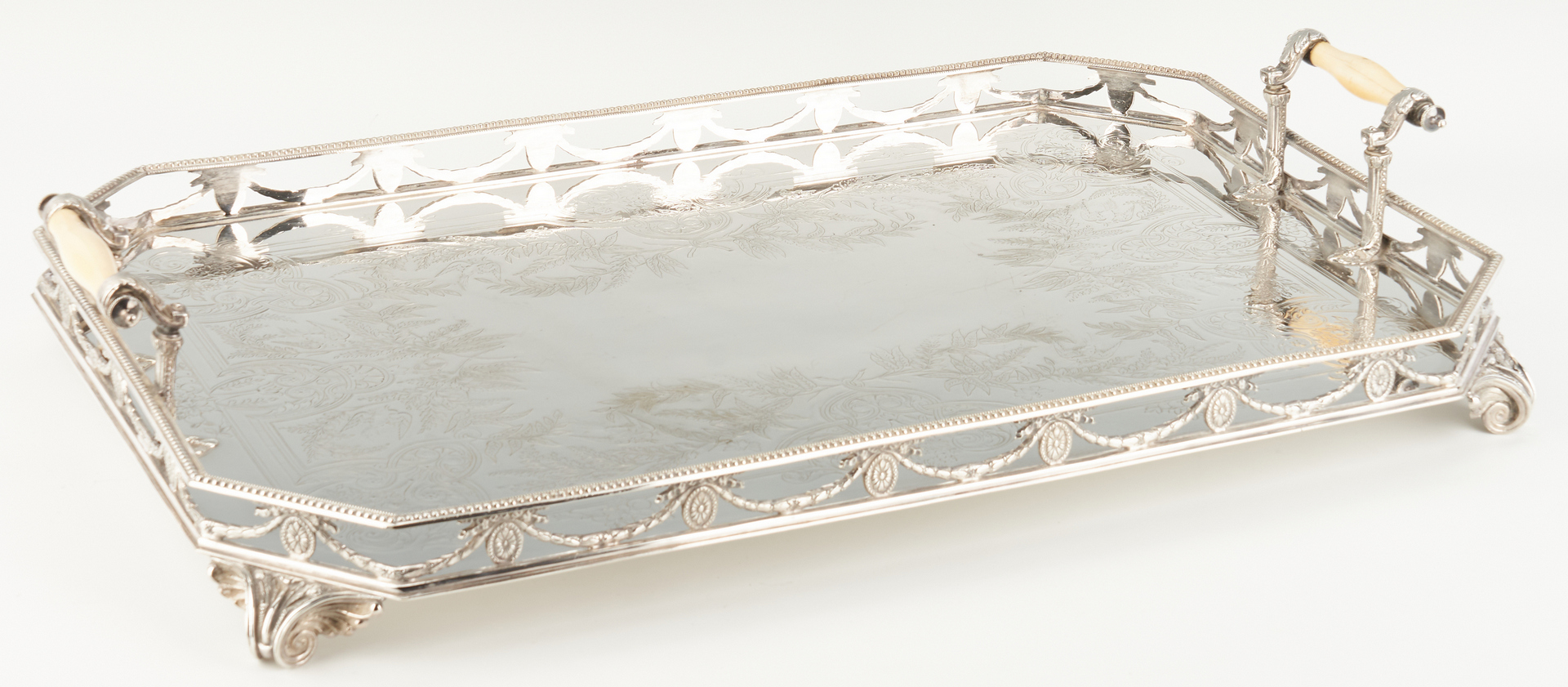 Lot 959: Neoclassical Silverplated Gallery Tray