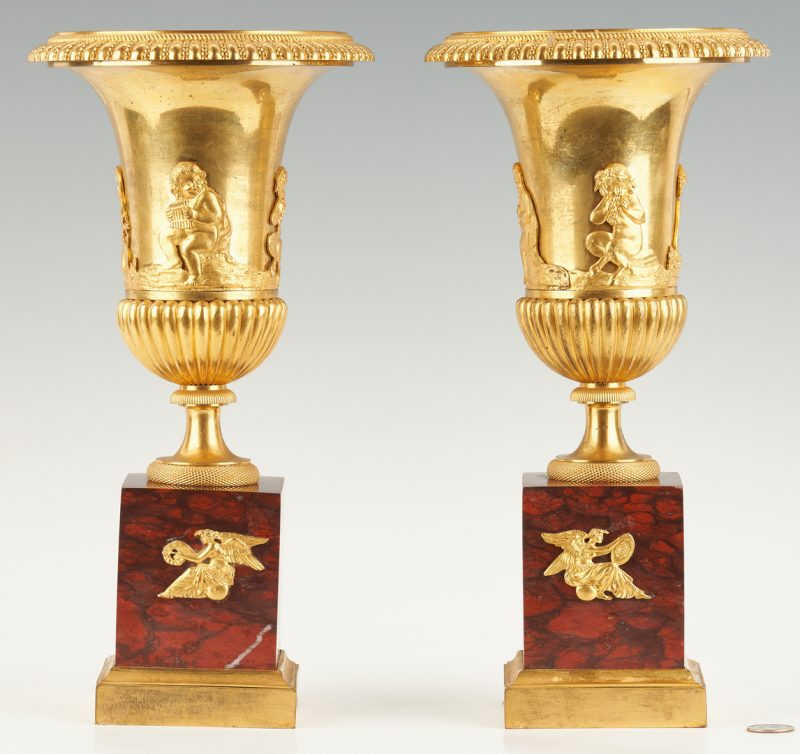 Lot 95: Pair Empire Ormolu Urns, Red Marble Bases