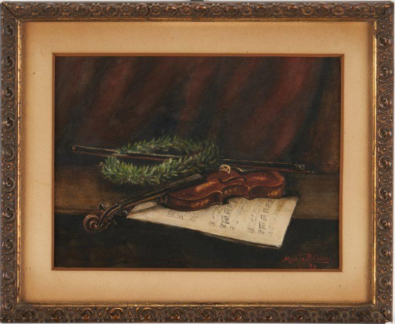 Lot 960: Marcia Odam W/C, Still Life w/ Violin