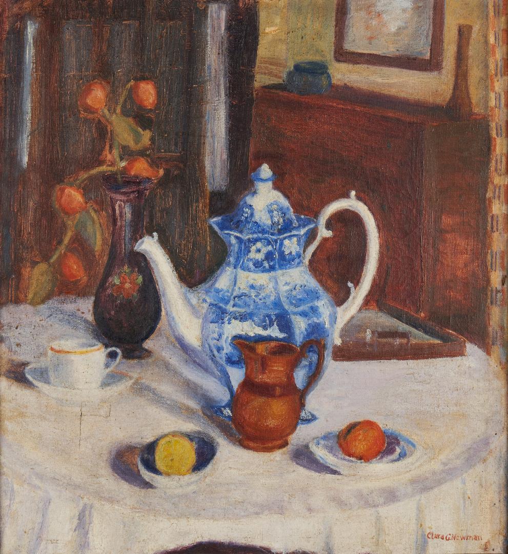 "Lot 961: Clara Newman Still Life, ""Old China,"" Exhibited Hoosier Salon"