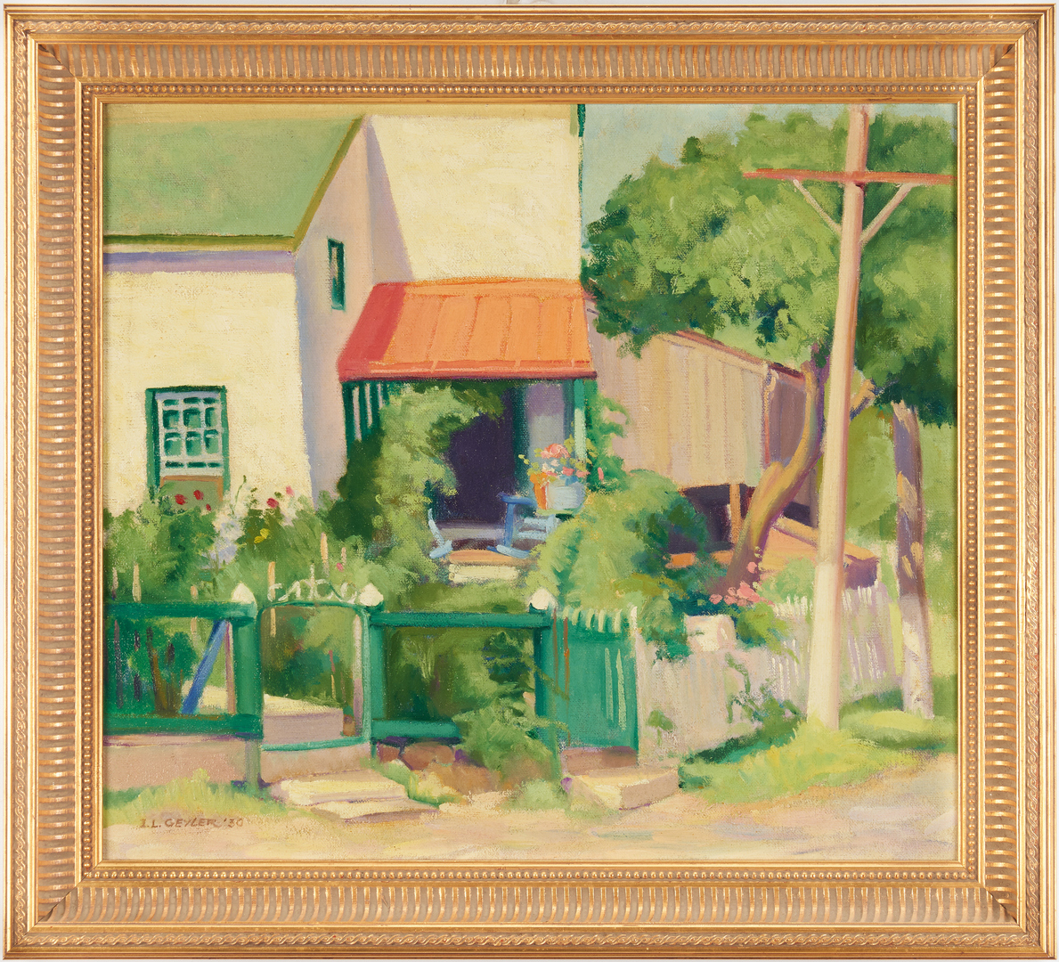 Lot 963: Ida Geyler Tollenger O/C Painting, Landscape with House
