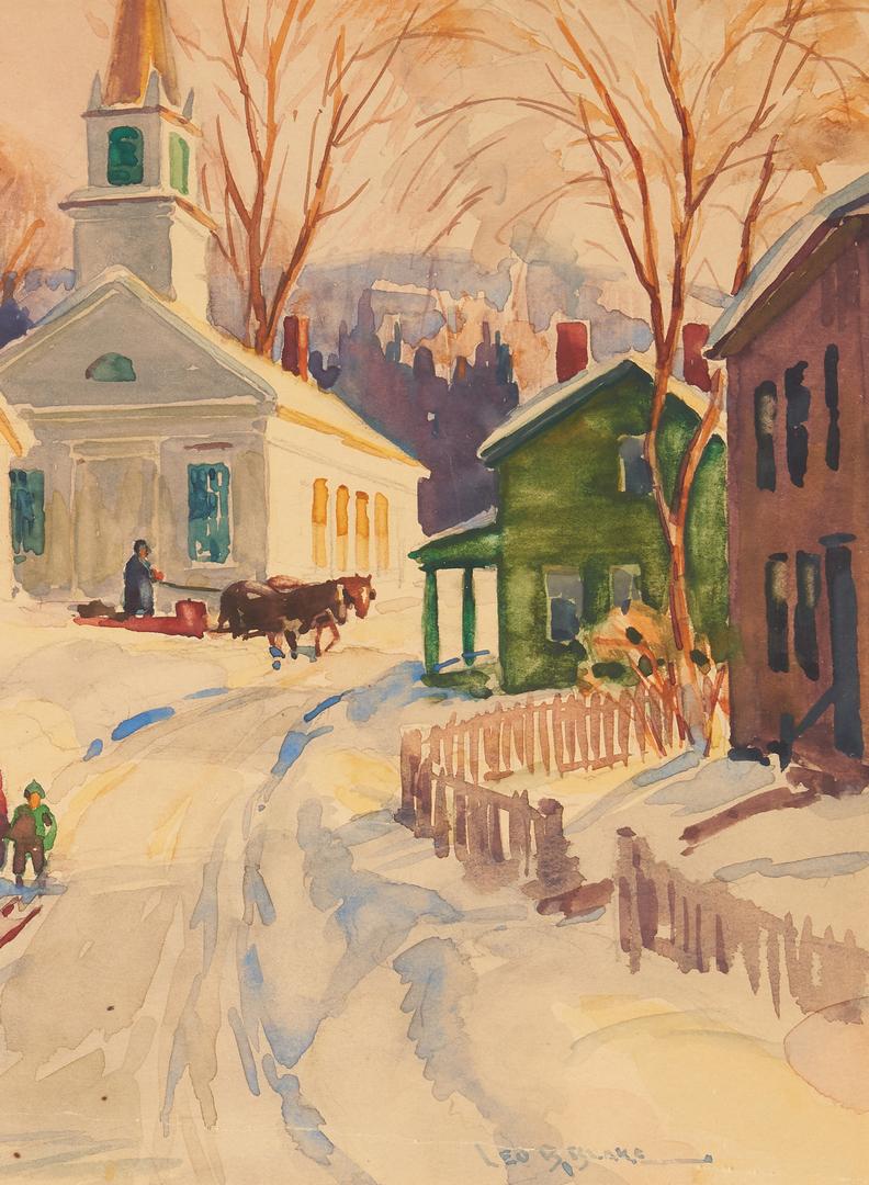 Lot 967: Leo Blake Watercolor Winter Landscape