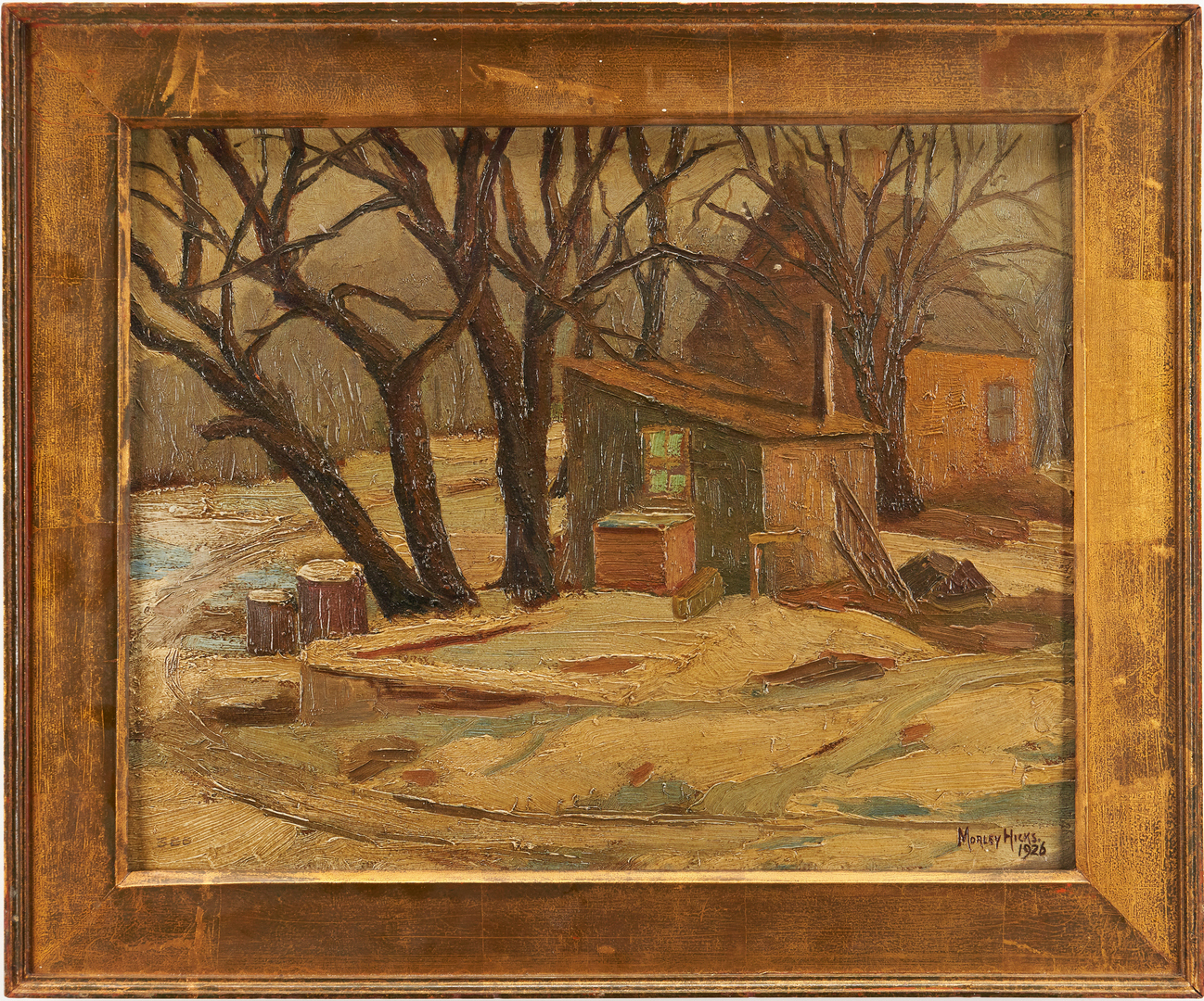 Lot 969: Morley Hicks Exhibited O/B Landscape Painting, Settlers Shack