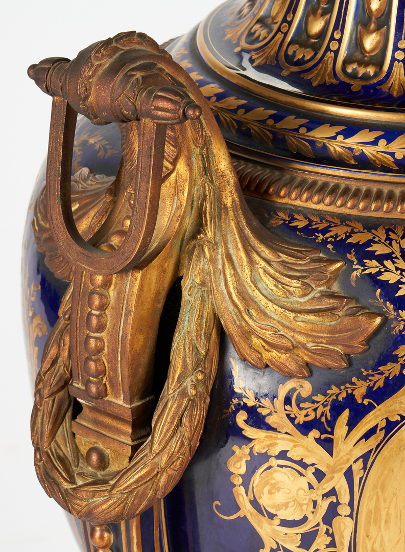 Lot 96: Sevres Palace Size Bronze Mounted Urn, Artist Signed