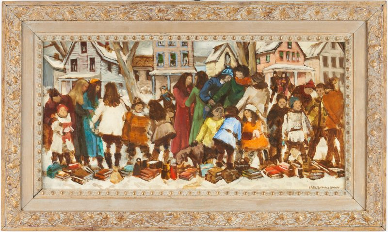 Lot 970: Carl Zimmerman O/B, School Children on a Winter Day