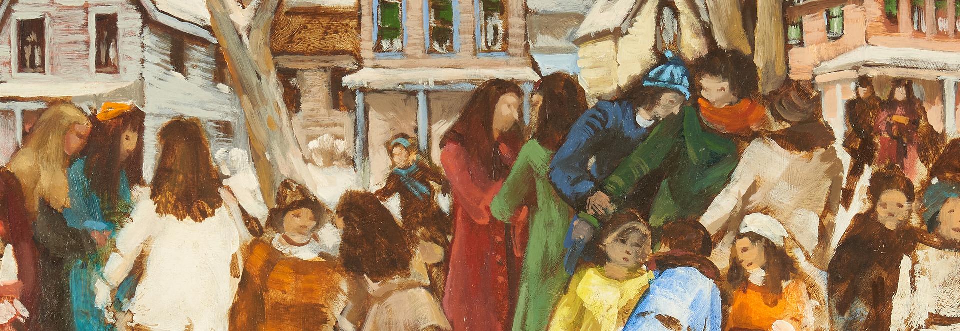 Lot 970: Carl Zimmerman O/B, School Children on a Winter Day