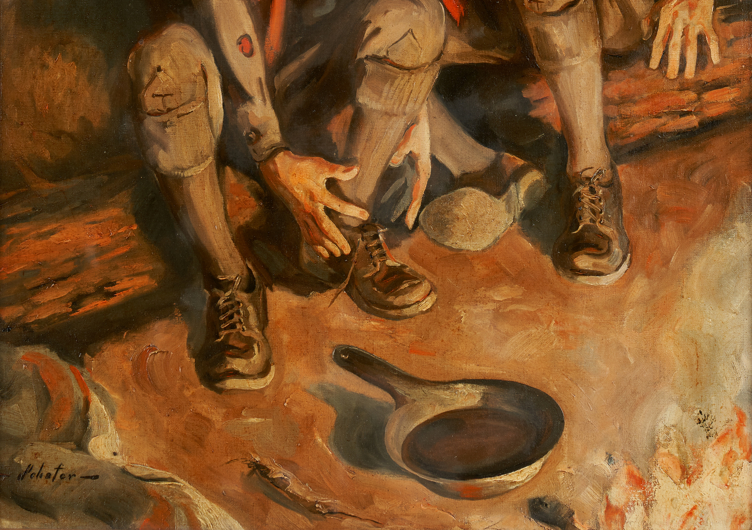 Lot 972: Boy Scout Illustration Art Painting, Schafer