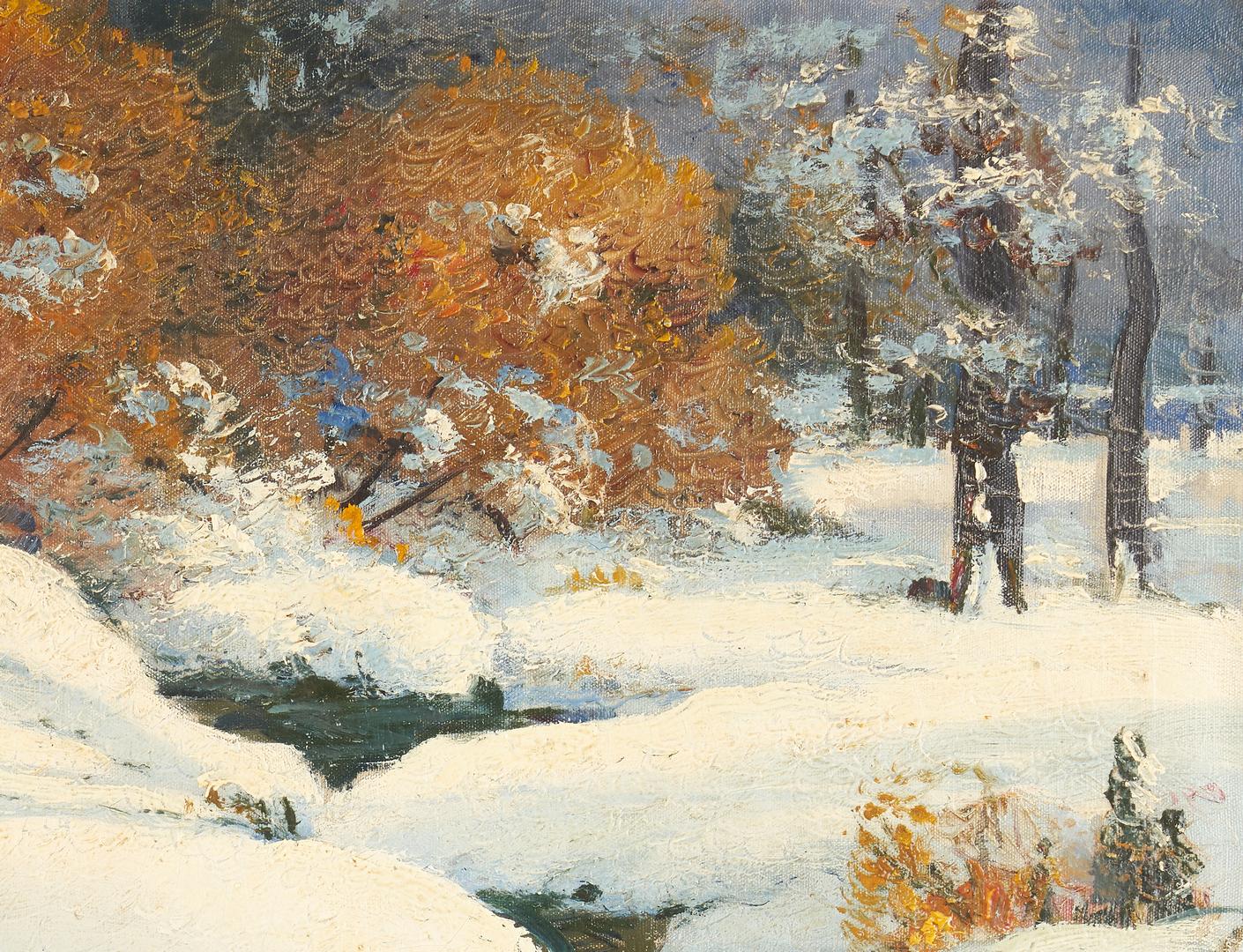Lot 975: Ernest Fredericks O/C Painting, Indiana Winter Landscape