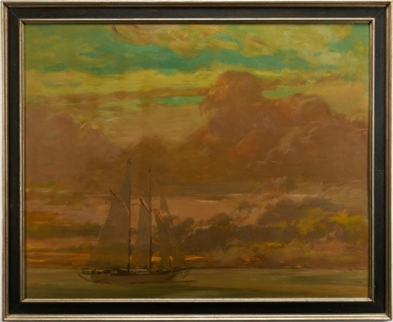 Lot 976: Geoffrey Lewis O/B Maritime Painting, Schooner