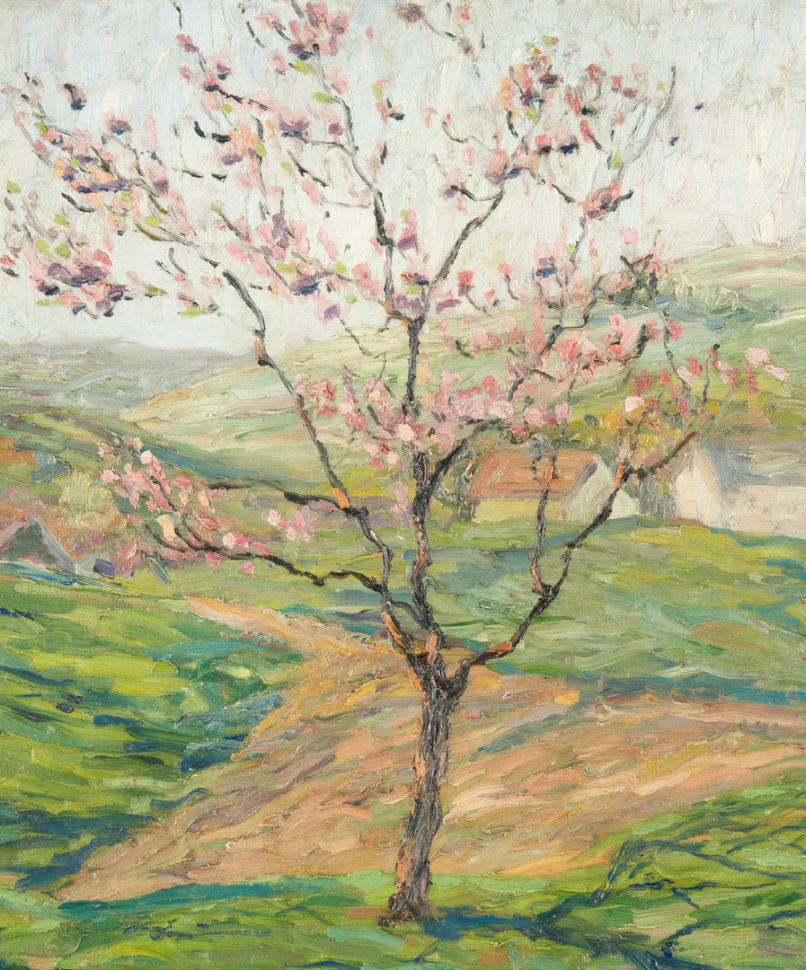 Lot 977: O/C Spring Cherry Tree Landscape Painting, Signed Palmer