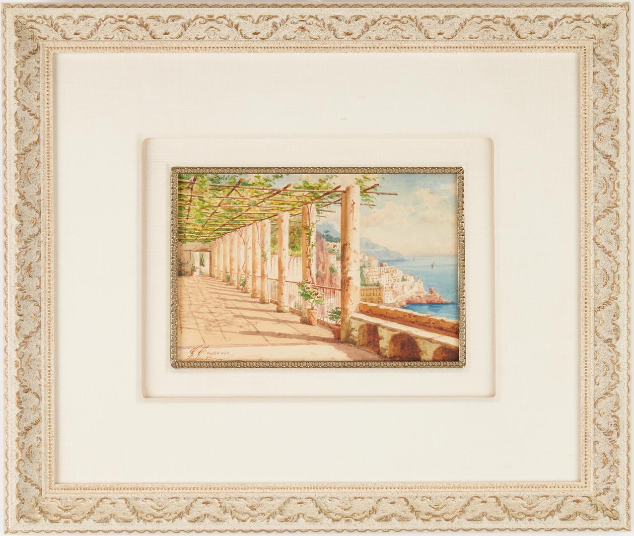 Lot 979: Gaetano Capone W/C Painting, Amalfi Coast, Italy