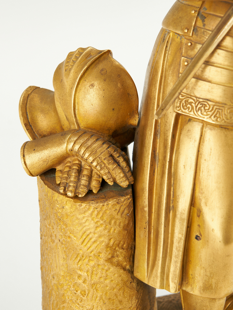 Lot 97: 2 French Gilt Bronze Sculptures, Joan of Arc & Cherub