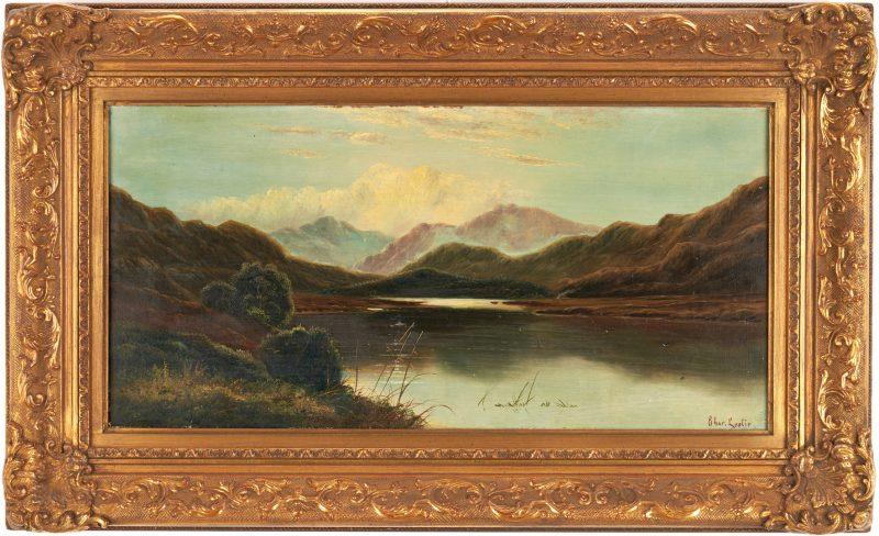 Lot 983: Charles Leslie O/C Painting, English Lake Scene