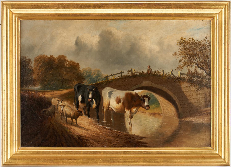 Lot 984: Pastoral Oil Landscape, Cows & Sheep by Bridge