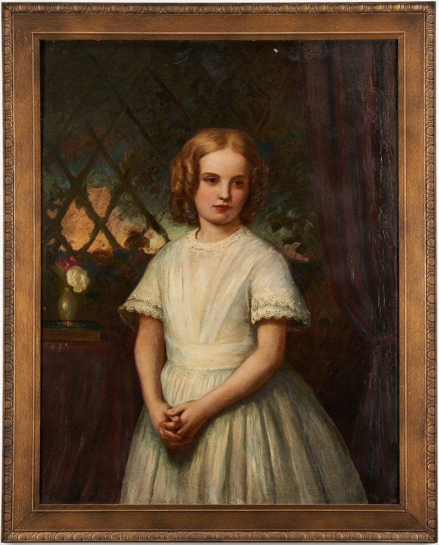 Lot 986: English School, 19th c. Portrait of a Girl in White Dress