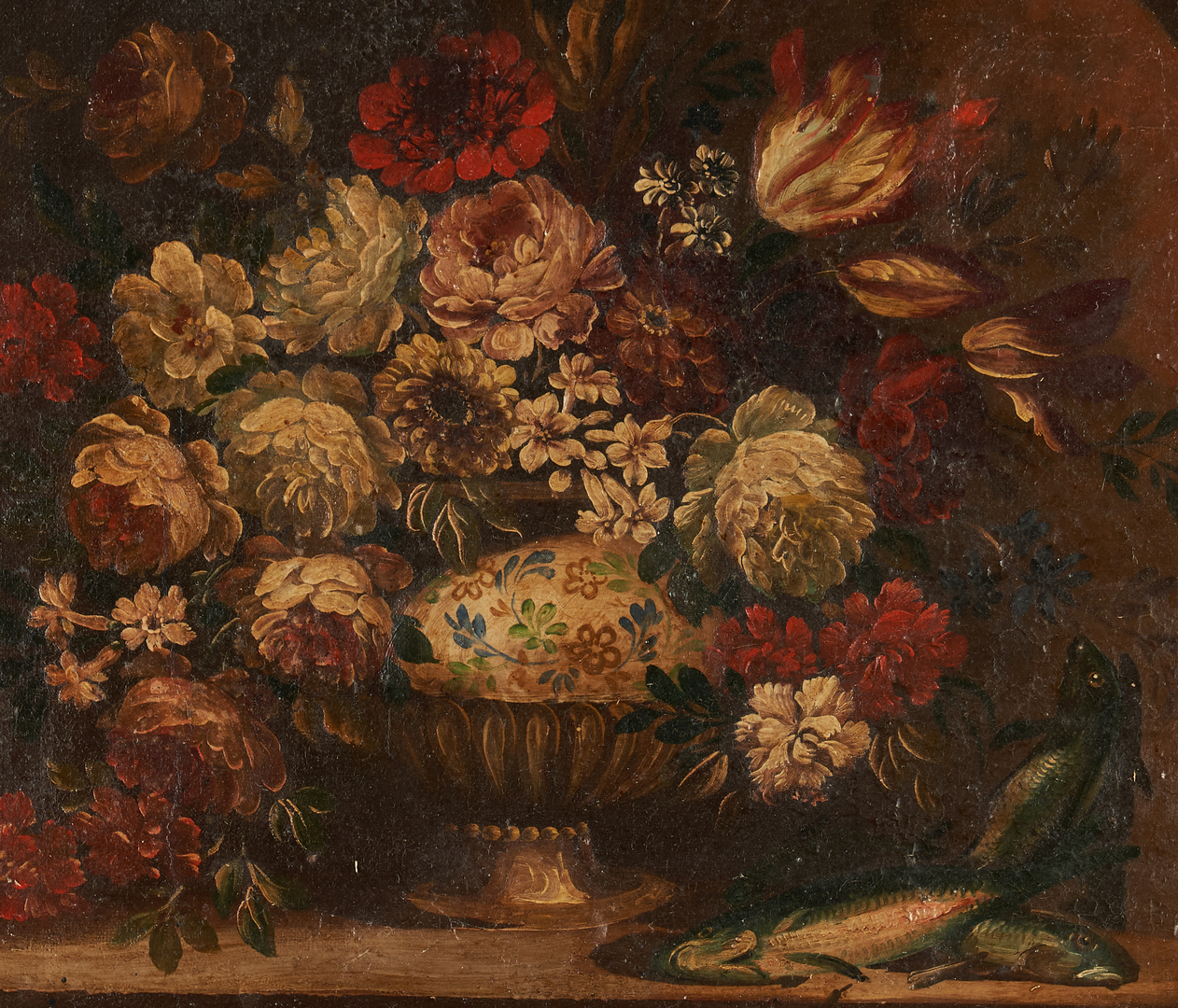 Lot 987: European Floral Still Life with Fish