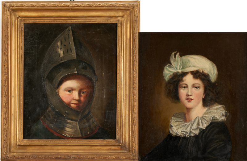 Lot 988: Otto Heusgen O/C, Madame Le Brun + Young Man in Armor