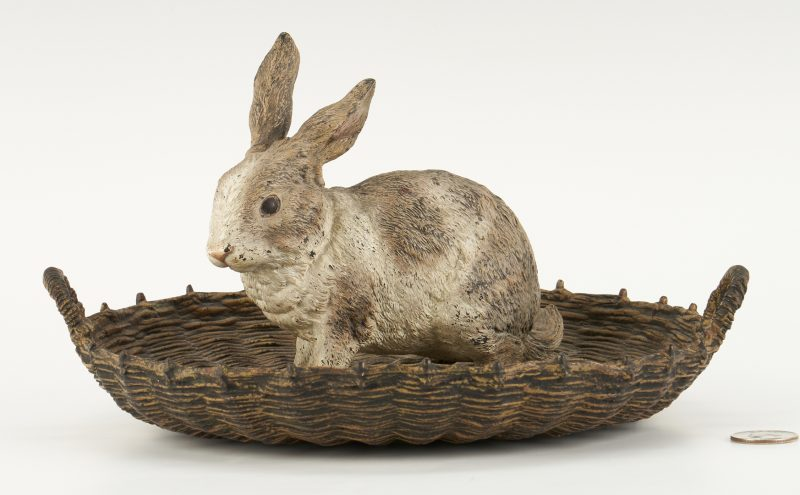Lot 98: Cold Painted Vienna Bronze Rabbit in Basket