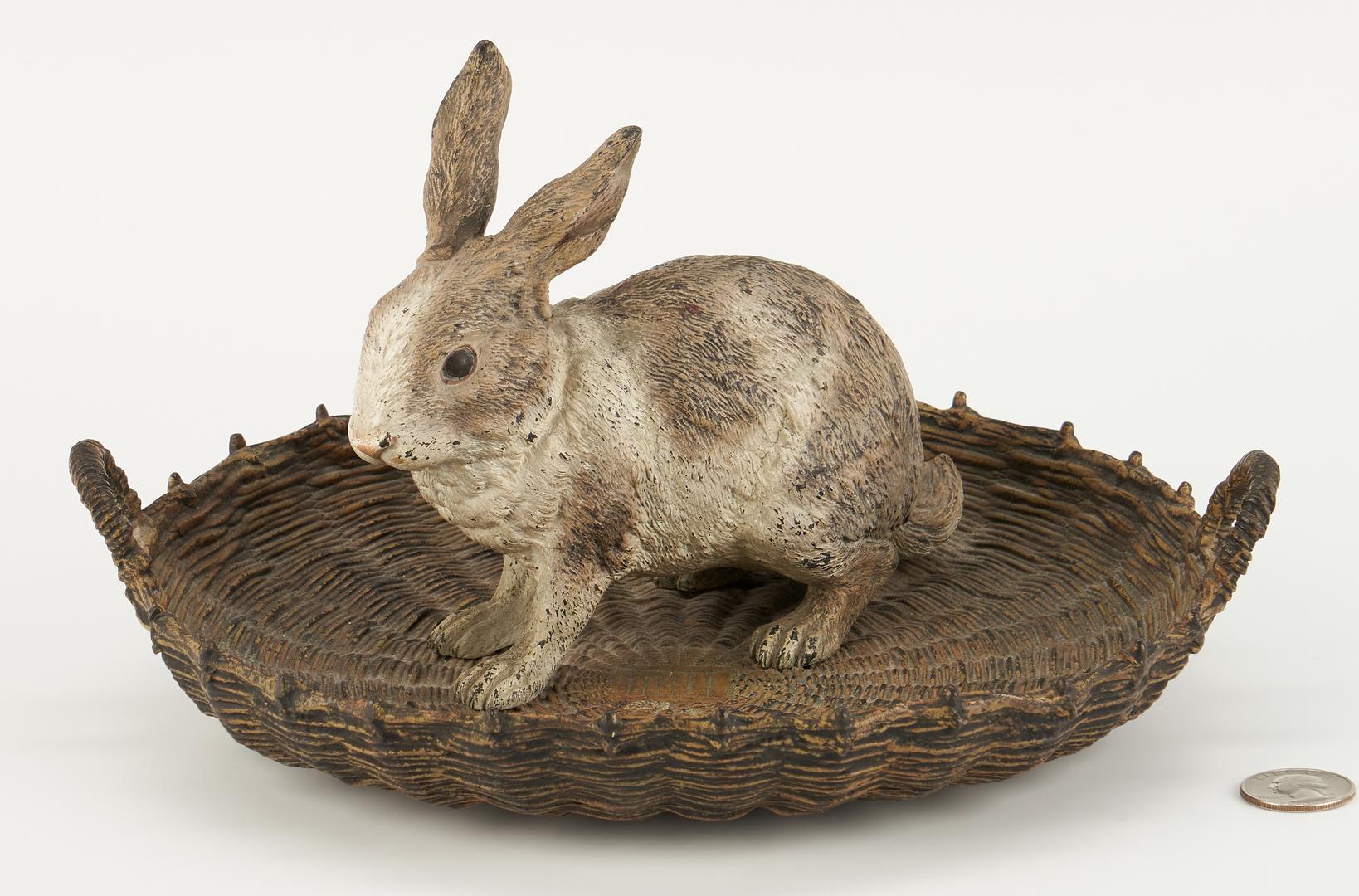Lot 98: Cold Painted Vienna Bronze Rabbit in Basket