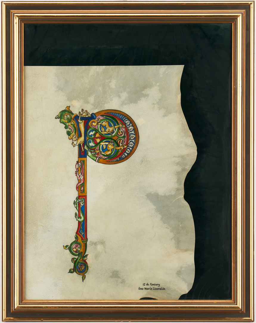 Lot 992: Russian Icon plus Illuminated Letter P on Vellum