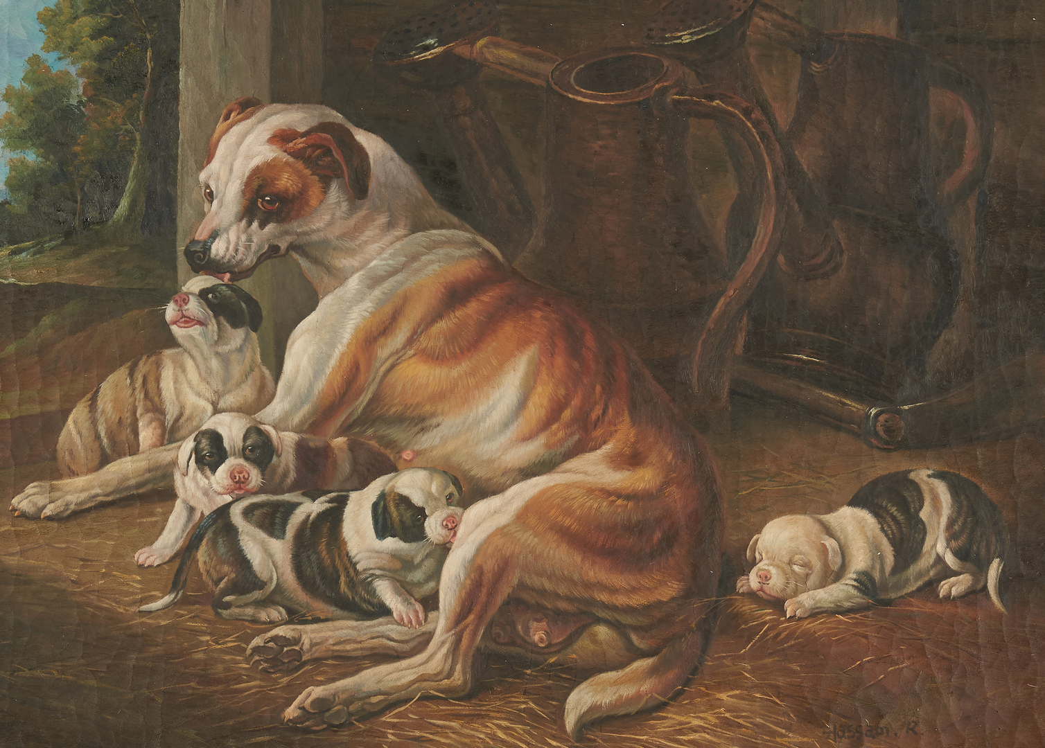 Lot 995: Genre Scene with Puppies, Signed Hassam