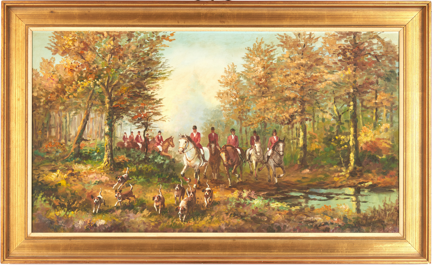 Lot 996: W. Reimann O/C Painting, English Fox Hunters & Hounds